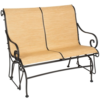 Pictured is the Terrace Padded Sling Glider from Woodard Outdoor Furniture, sold by Timeless Wrought Iron.