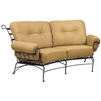 Pictured is the Terrace Crescent Loveseat from Woodard Outdoor Furniture, sold by Timeless Wrought Iron.