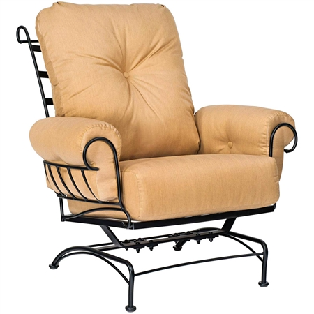 Pictured is the Terrace Spring Lounge Chair from Woodard Outdoor Furniture, sold by Timeless Wrought Iron.