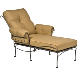 Pictured is the Terrace Stationary Chaise Lounge from Woodard Outdoor Furniture, sold by Timeless Wrought Iron.