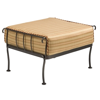 Pictured is the Terrace Ottoman from Woodard Outdoor Furniture, sold by Timeless Wrought Iron.