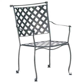 Pictured is the Maddox Dining Stackable Arm Chair from Woodard Outdoor Furniture, sold by Timeless Wrought Iron.