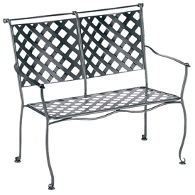Pictured is the Maddox Stackable Bench from Woodard Outdoor Furniture, sold by Timeless Wrought Iron.