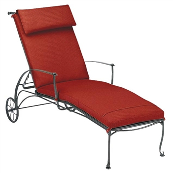 Pictured is the Maddox Adjustable Chaise Lounge from Woodard Outdoor Furniture, sold by Timeless Wrought Iron.
