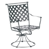 Pictured is the Maddox Swivel Rocker from Woodard Outdoor Furniture, sold by Timeless Wrought Iron.