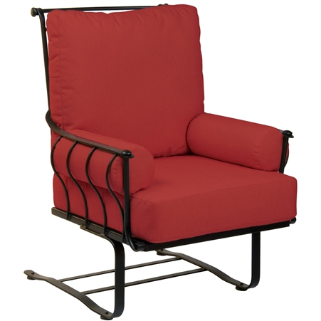 Pictured is the Maddox Spring Lounge Chair from Woodard Outdoor Furniture, sold by Timeless Wrought Iron.