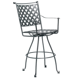 Pictured is the Maddox Swivel Bar Stool from Woodard Outdoor Furniture, sold by Timeless Wrought Iron.