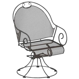 Pictured is the Cantebury Barrel Swivel Rocker from Woodard Outdoor Furniture, sold by Timeless Wrought Iron.