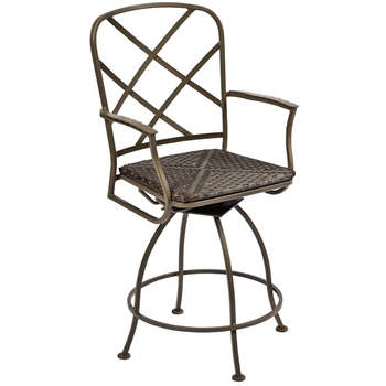 Pictured is the Aberdeen Swivel Counter Stool from Woodard Outdoor Furniture, sold by Timeless Wrought Iron.