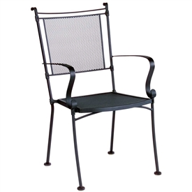 Pictured is the Bradford Mesh Dining Stackable Arm Chair from Woodard Outdoor Furniture, sold by Timeless Wrought Iron.