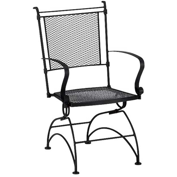 Pictured is the Bradford Coil Spring Dining Chair from Woodard Outdoor Furniture, sold by Timeless Wrought Iron.