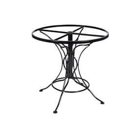Pictured is the Universal Round Dining Table with Napa Top from Woodard Outdoor Furniture, sold by Timeless Wrought Iron.