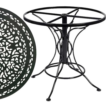Pictured is the Universal Round Dining Table with Vintage Top from Woodard Outdoor Furniture, sold by Timeless Wrought Iron.