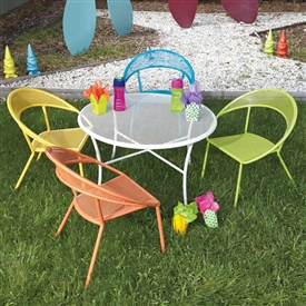 Pictured here is the kids outdoor dining set with 1 round table and 4 colorful chairs with mesh backs and seat, made of wrought iron.