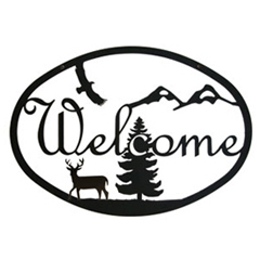 Wrought Iron Deer Welcome Sign