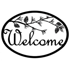 Wrought Iron Pinecone Welcome Sign