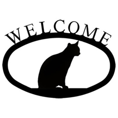 Wrought Iron Welcome Sign Small - Cat Sitting