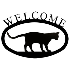 Wrought Iron Welcome Sign Small - Cat