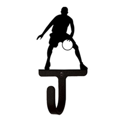 Wrought Iron Basketball Player Wall Hook Small