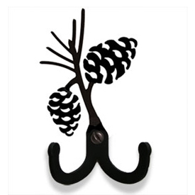 Wrought Iron Pinecone Double Wall Hook