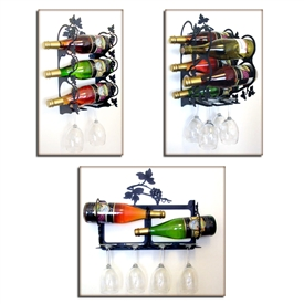Wrought Iron Wall Mount Grapevine Wine Rack
