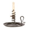 Pictured here is an authentic wrought iron Courting Candle Holder with drip pan and wood screw with natural black iron finish.