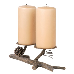 Rustic Pine Double Candle Holder