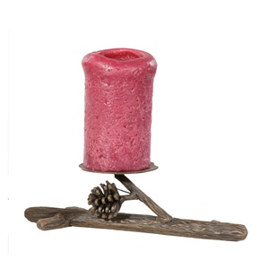 Rustic Pine Single Candle Holder