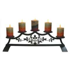 Wrought Iron Pillar Candle Holder - Victorian