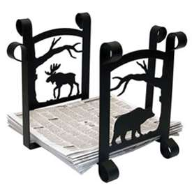 Wrought Iron Rustic Moose and Bear Scene Recycle Bin
