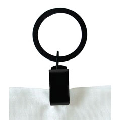 Pictured here is the 1-inch diameter Clip Curtain Ring with a flat black powder coat finish.