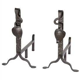 Pictured here are the Leaf Fireplace Andirons made by the skilled blacksmith artisans at Stone County Ironworks