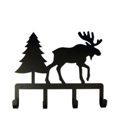 Wrought Iron Moose & Pine Key Holder