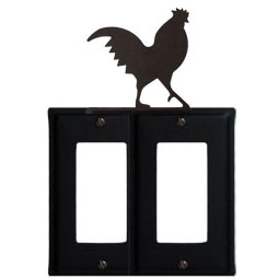 Wrought Iron Rooster Double GFI Cover