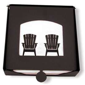 Wrought Iron Adirondack Chairs Napkin Holder (2-piece)