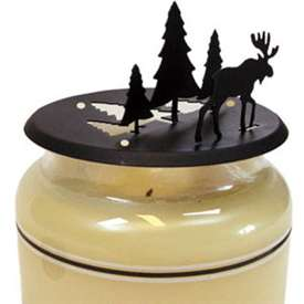 Wrought Iron Moose - Pine Candle Jar Topper