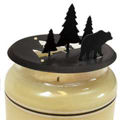 Wrought Iron Bear and Pine Candle Jar Toper