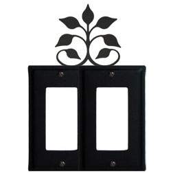 Wrought Iron Leaf Fan Double GFI Cover