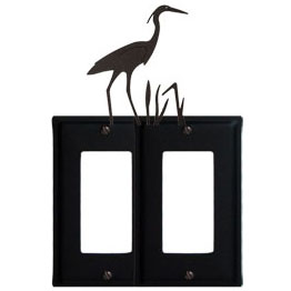 Wrought Iron Heron Double GFI Cover