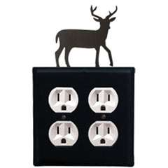 Wrought Iron Deer Outlet Cover (Double)