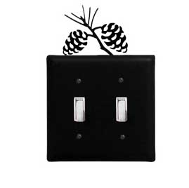 Wrought Iron Pine Cone Switch Cover (Double)