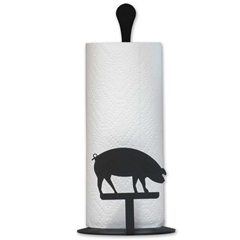 Wrought Iron Pig Paper Towel Stand