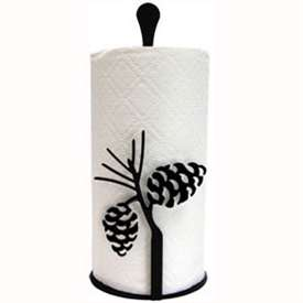 Wrought Iron Pine Cone Paper Towel Stand