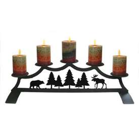 Wrought Iron Moose, Bear, and Pine Pillar Candle Holder