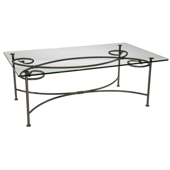 Pictured is the Wrought Iron Leaf Cocktail Table made by Stone County Ironworks, sold online at Timeless Wrought Iron