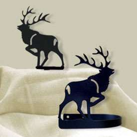 Wrought Iron Elk Tie Backs