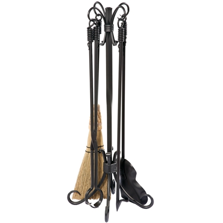 Pictured here is the Phoenix Fireplace Tool Set with a Natural Black Iron finish. Set includes Fireplace Tool Stand, Broom, Shovel, Fire-Poker, and Log-Tongs