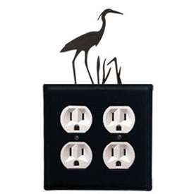 Wrought Iron Heron Outlet Cover (Double)