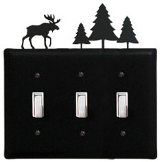 Wrought Iron Moose & Tree Triple Switch Cover