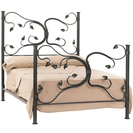 Pictured here is the Eden Isle wrought iron Headboard and bed frame from Stone County Ironworks